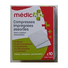 Compresses imprégnées assorties - MédicAID